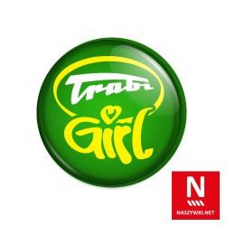 Wpinka Trabi Girl, zielone tło, biało-żółty napis