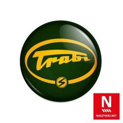 Wpinka Trabi, zielone tło, żółty wzór