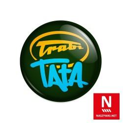 Wpinka Trabi Tata, zielone tło, żółto-niebieski wzór