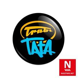 Wpinka Trabi Tata, czarne tło, żółto-niebieski wzór