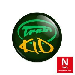 Wpinka Trabi Kid, zielone tło, zielono-żółty wzór