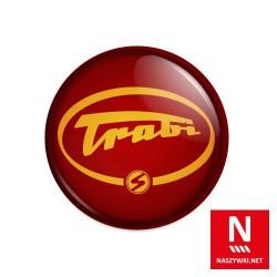 Wpinka Trabi - ciemnoczerwone tło, żółty wzór