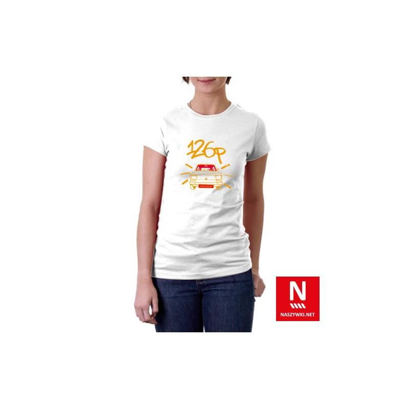 Koszulka damska z wzorem Fiat 126p, popularnym maluchem