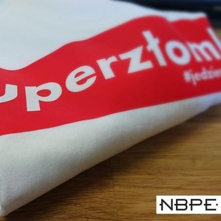 Koszulka męska biała ze wzorem Superzłombol