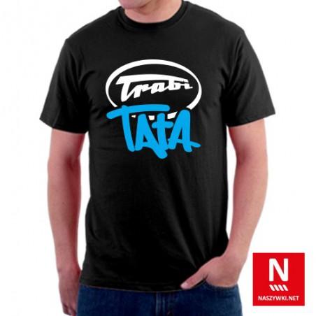 Koszulka męska czarna ze stylizowanym napisem Trabi Tata